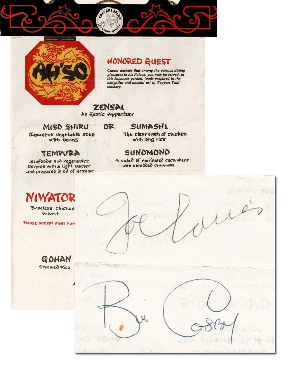 Joe Louis & Bill Cosby Signed Menu Caesar's Palace