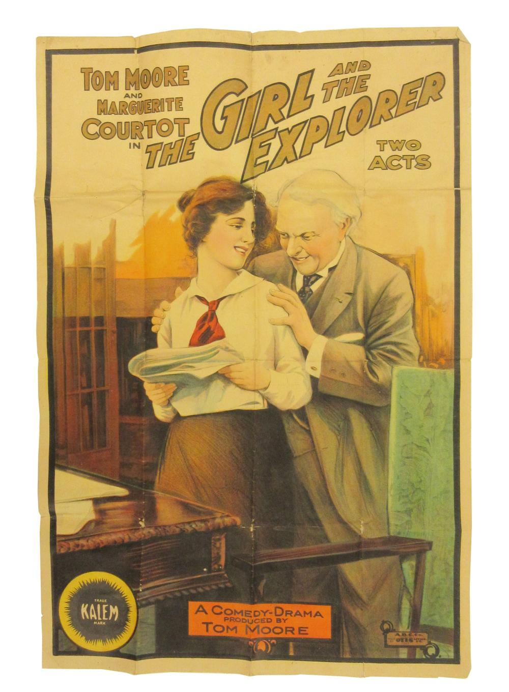 """""""The Girl and the Explorer"""" (1914) Large Vintage Movie Poster"""