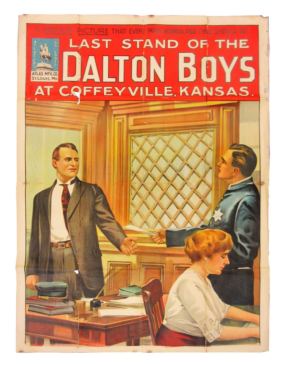 """""""The Last Stand of the Dalton Boys"""" 1912 Huge (nearly 5 ft) Vintage Movie Poster"""