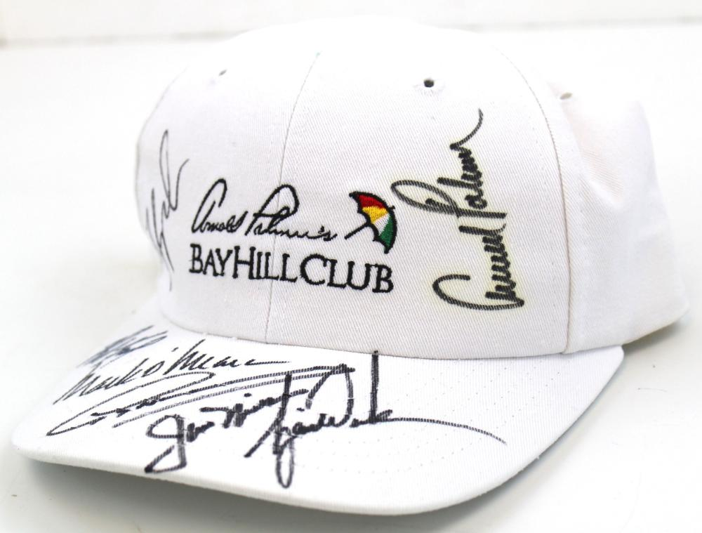 Cap Signed by Tiger Woods, J. Nicklaus, A. Palmer, F. Couples, M. O'Meara, G. Norman and B. Faxon. From Palmer Bay Hill Club JSA Cert