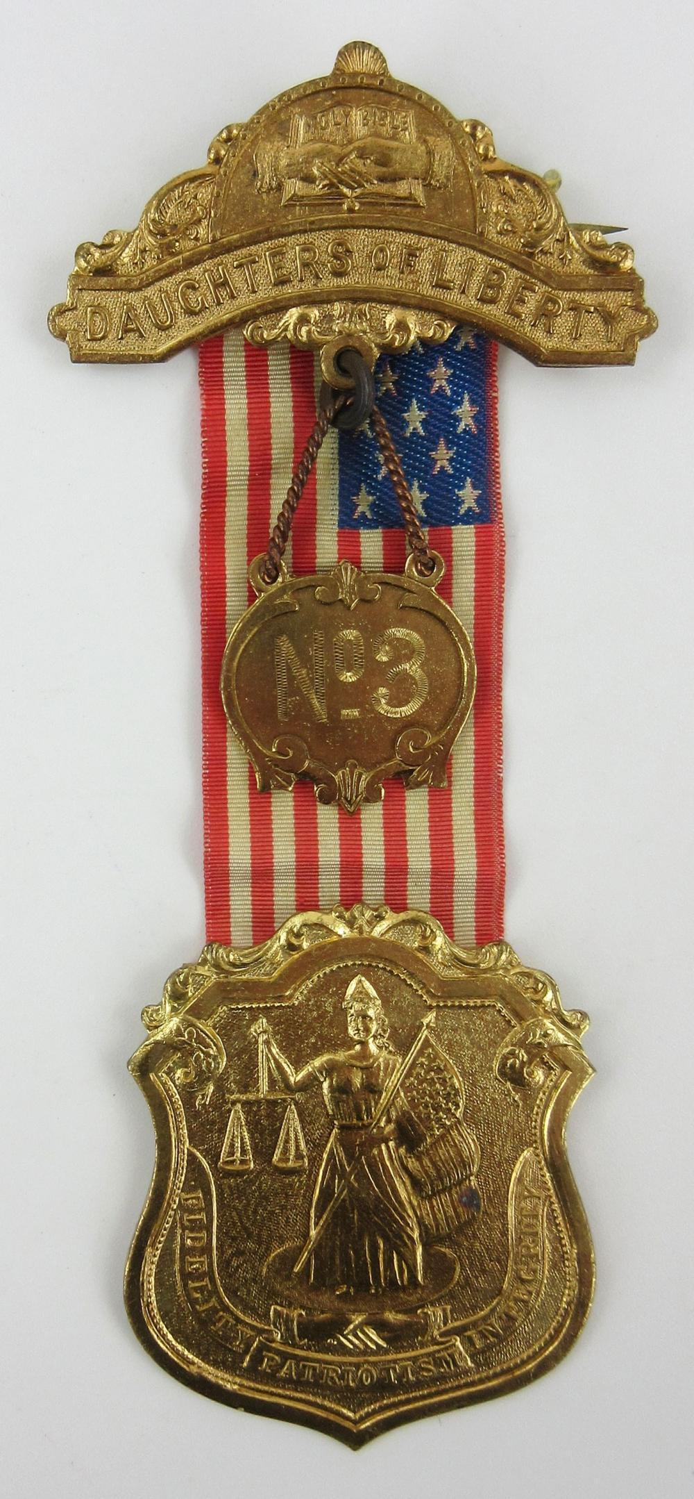 """Nativist """"Order of Daughters of Liberty"""" Pinback Badge Ribbon"""