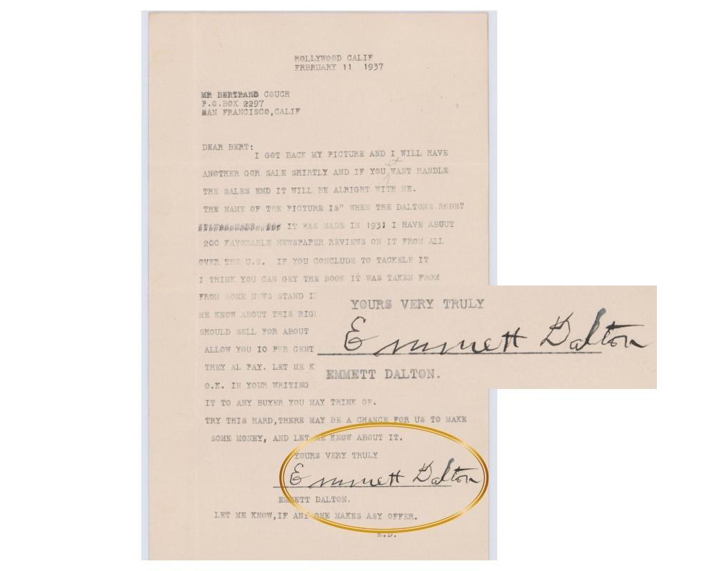 "Emmett Dalton Sells the Rights to ""When The Dalton's Road"" Incredible TLS 1937"