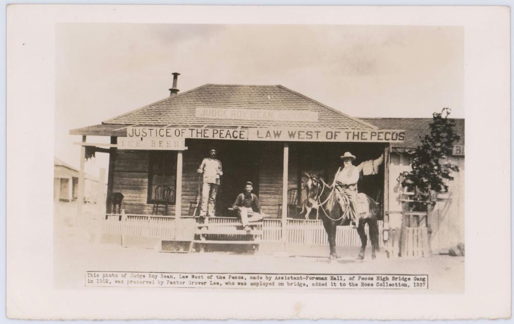 Vintage Photo of Judge Roy Bean's Historic Saloon that Served as a Courthouse.