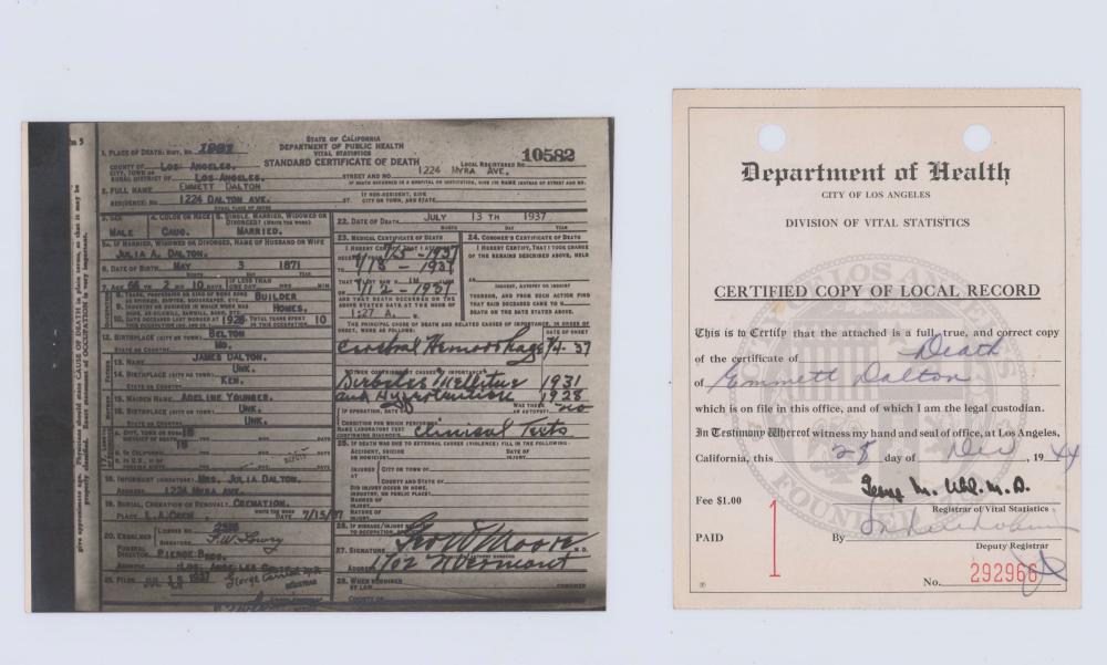 Emmett Dalton's Embossed Death Certificate, Near Contemporary