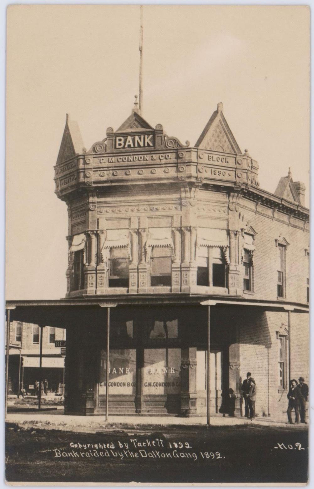 Vintage Real Photo Postcard of the Condon Bank, Scene of the Dalton Gang's Coffeyville Raid. Owned by the Photographer