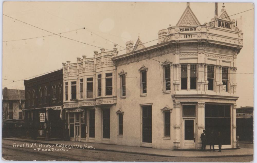Vintage Real Photo Postcard of the First Nat'l Bank, Scene of the Dalton Gang's Coffeyville Raid, Photographer Owned.