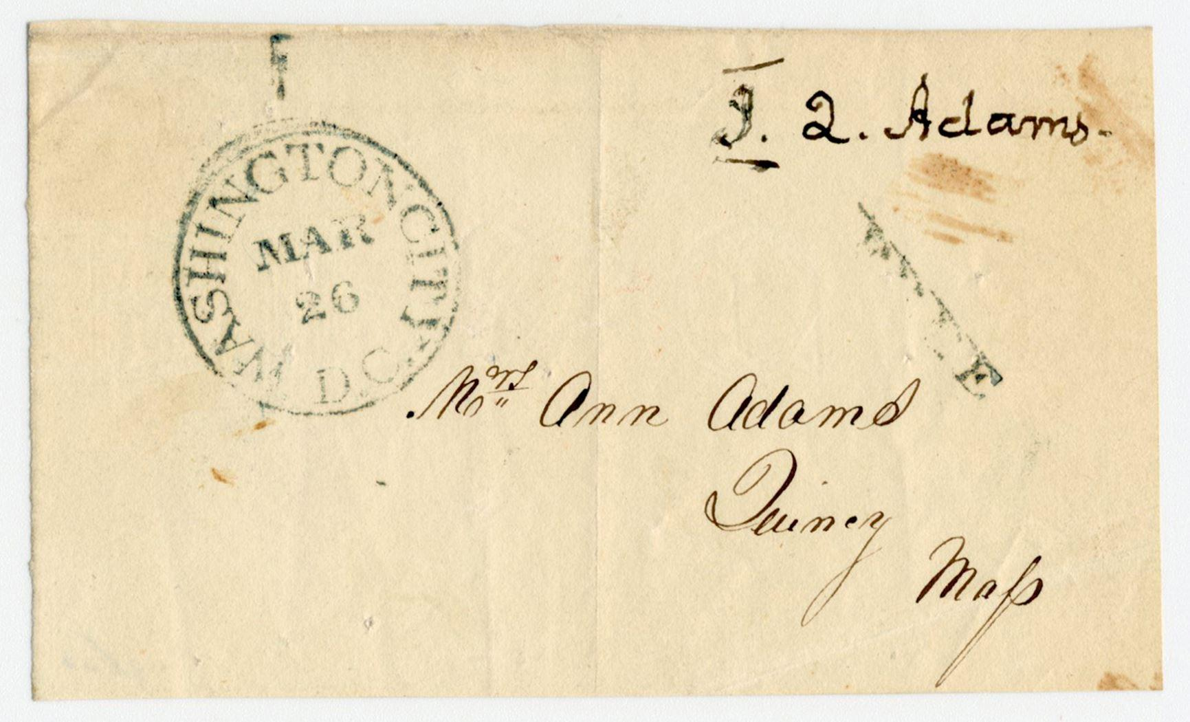 John Quincy Adams Free Franked Envelope, Boldly Signed