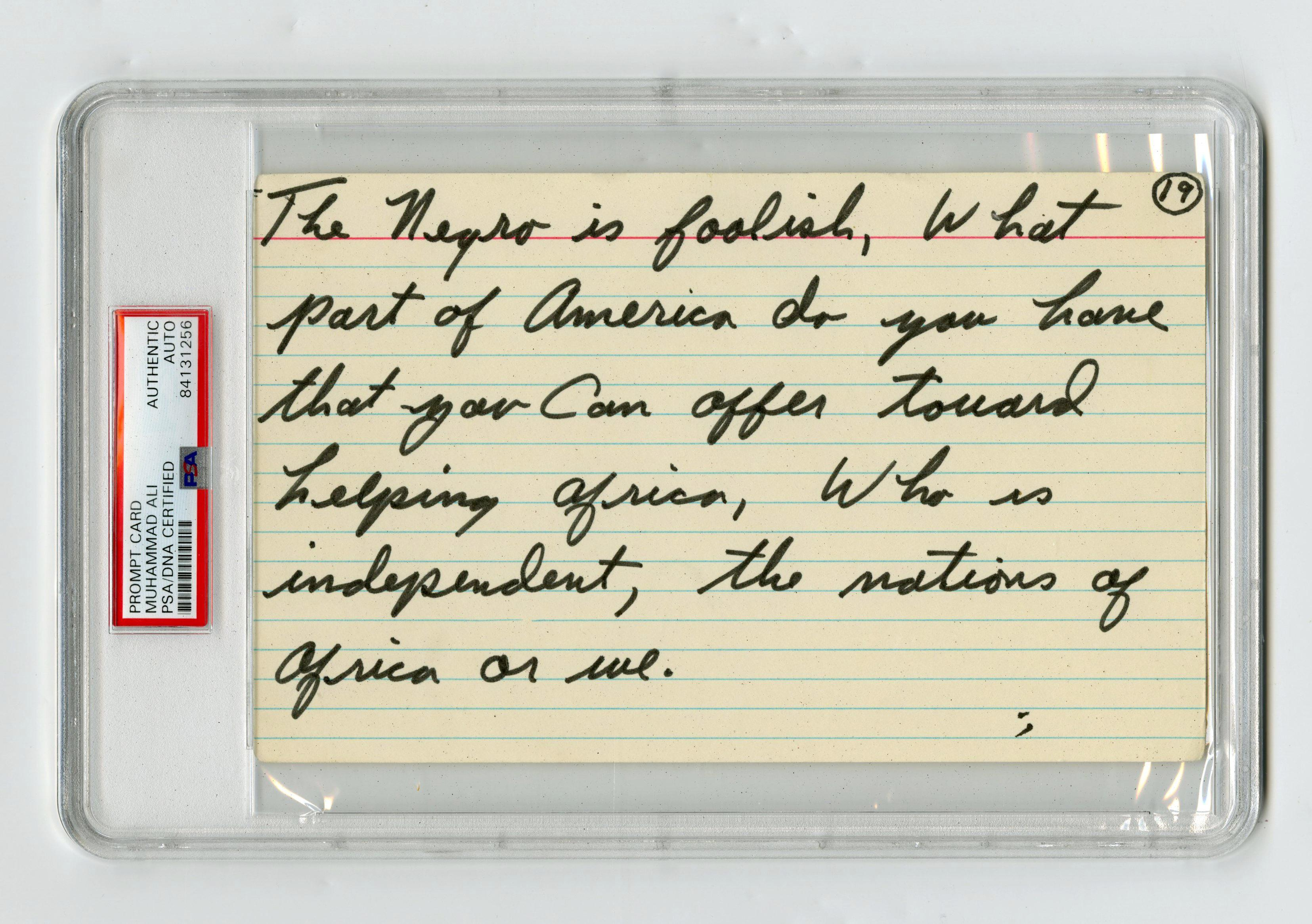 "Muhammad Ali Handwritten Prompt Card with Elijah Muhammad Quotation, PSA Slabbed with ""AUTO"" Indication"