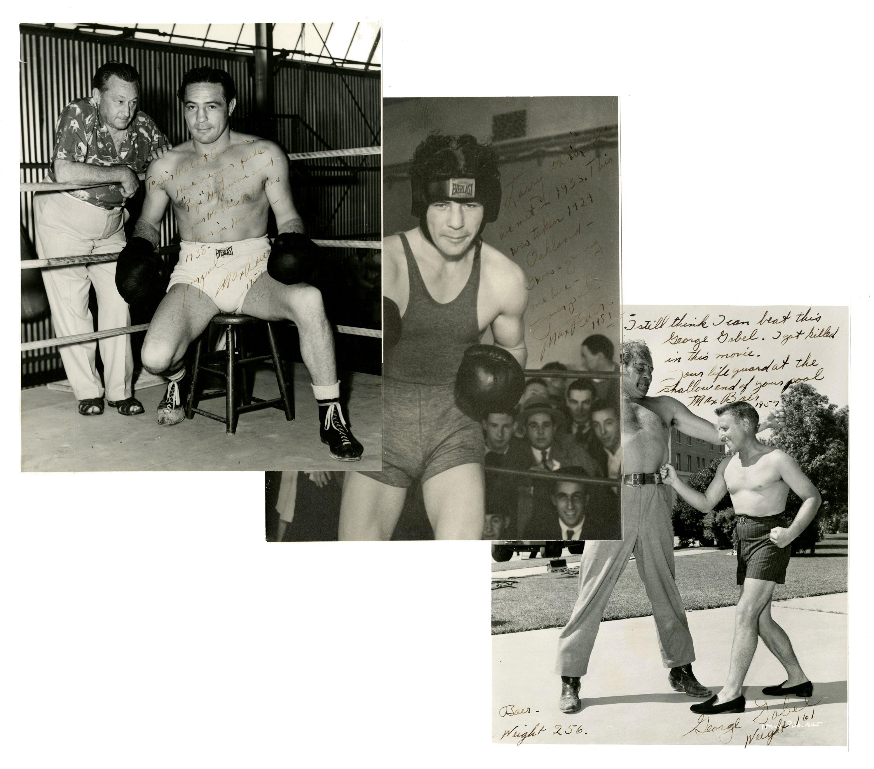 Max Baer 3 Humorous & Dynamic Signed and Inscribed Boxing Photographs