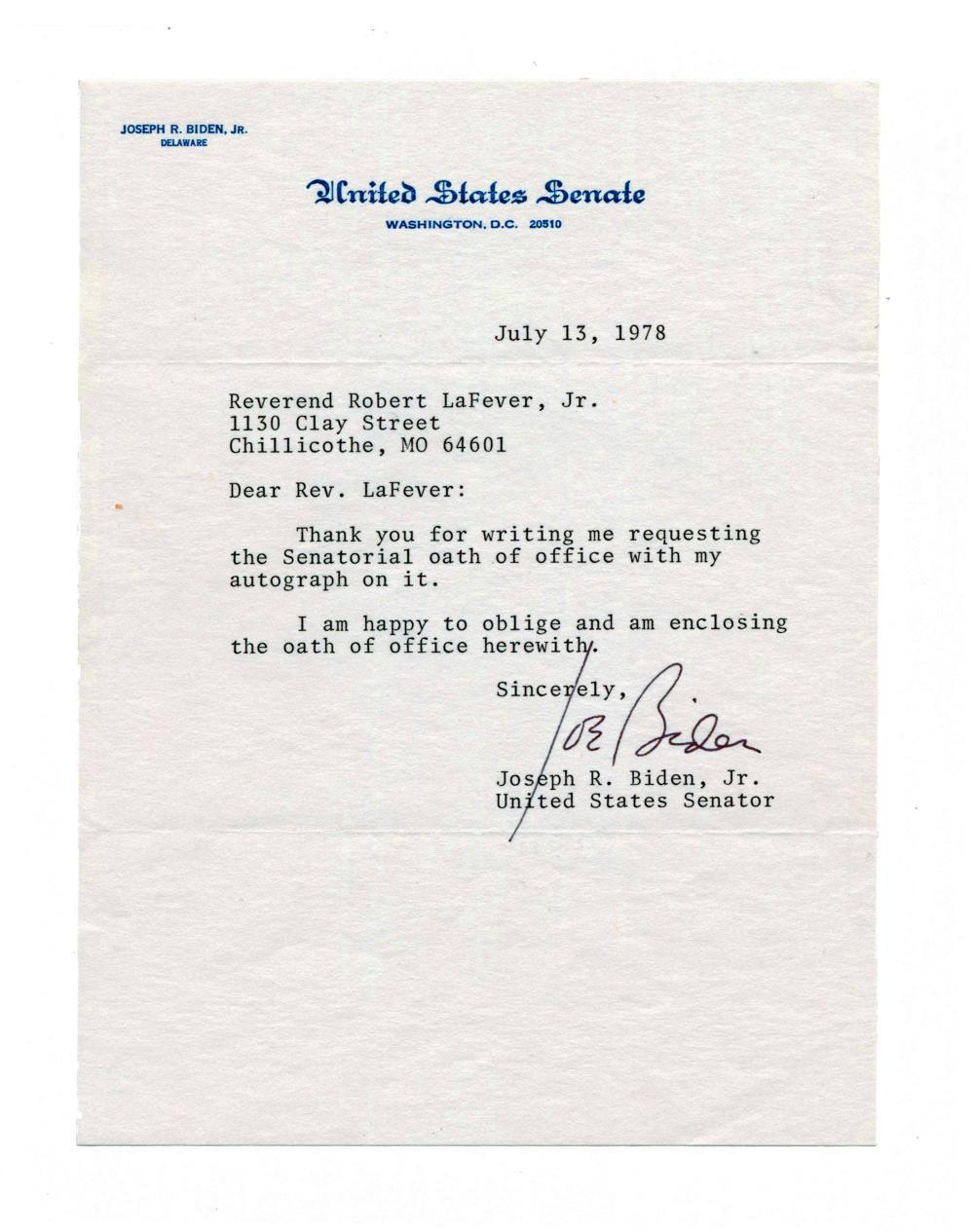 Joe Biden TLS as Senator in 1978