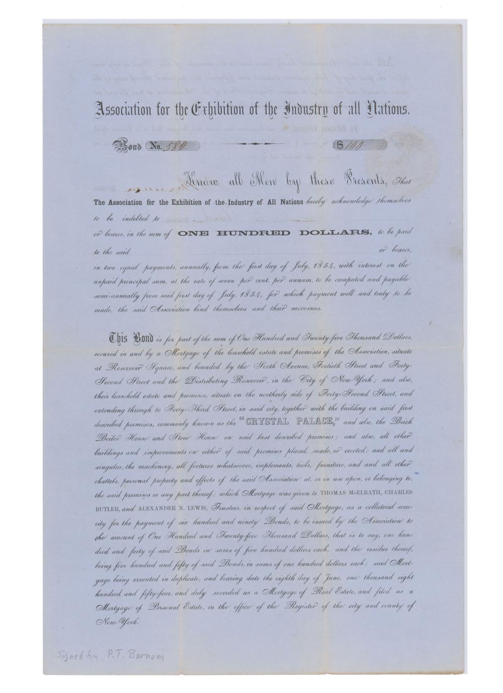 P.T. Barnum Signed Fantastic Crystal Palace Bond