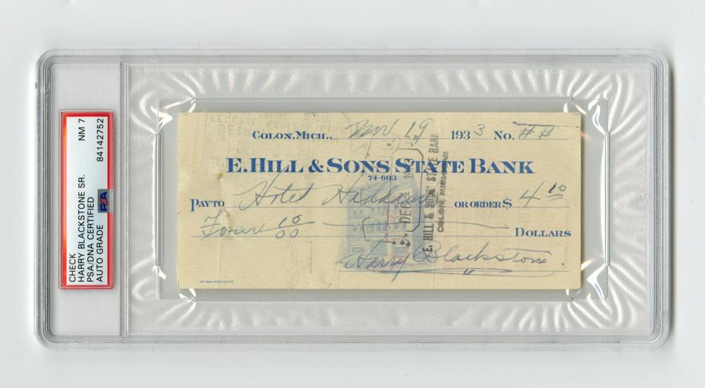 Famed Magician Harry Blackstone Sr. Signed Check for a Hotel Stay, PSA Slabbed and Graded NM 7