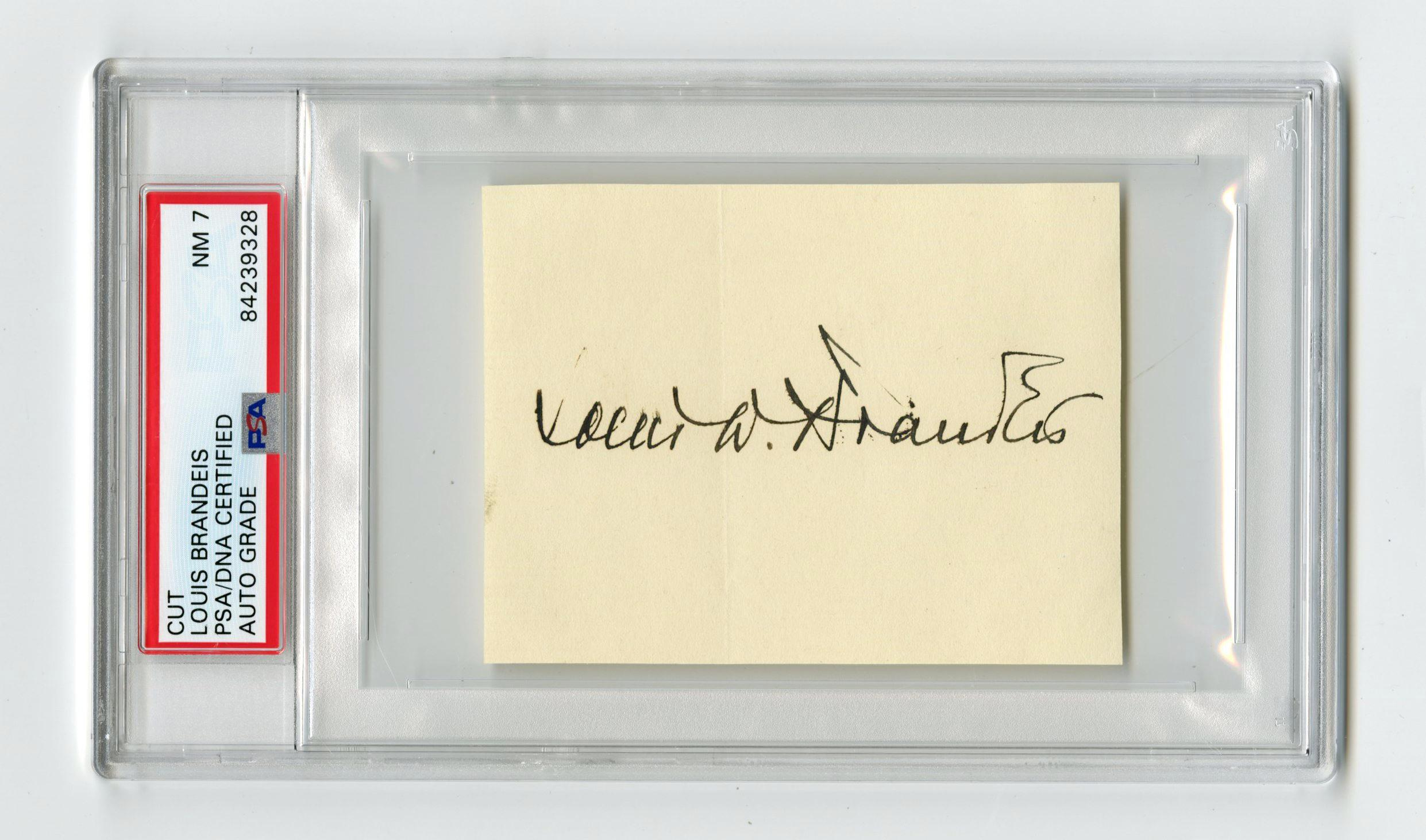 Supreme Court Justice Louis D. Brandeis Boldly Signed Card, PSA Slabbed and Graded NM 7