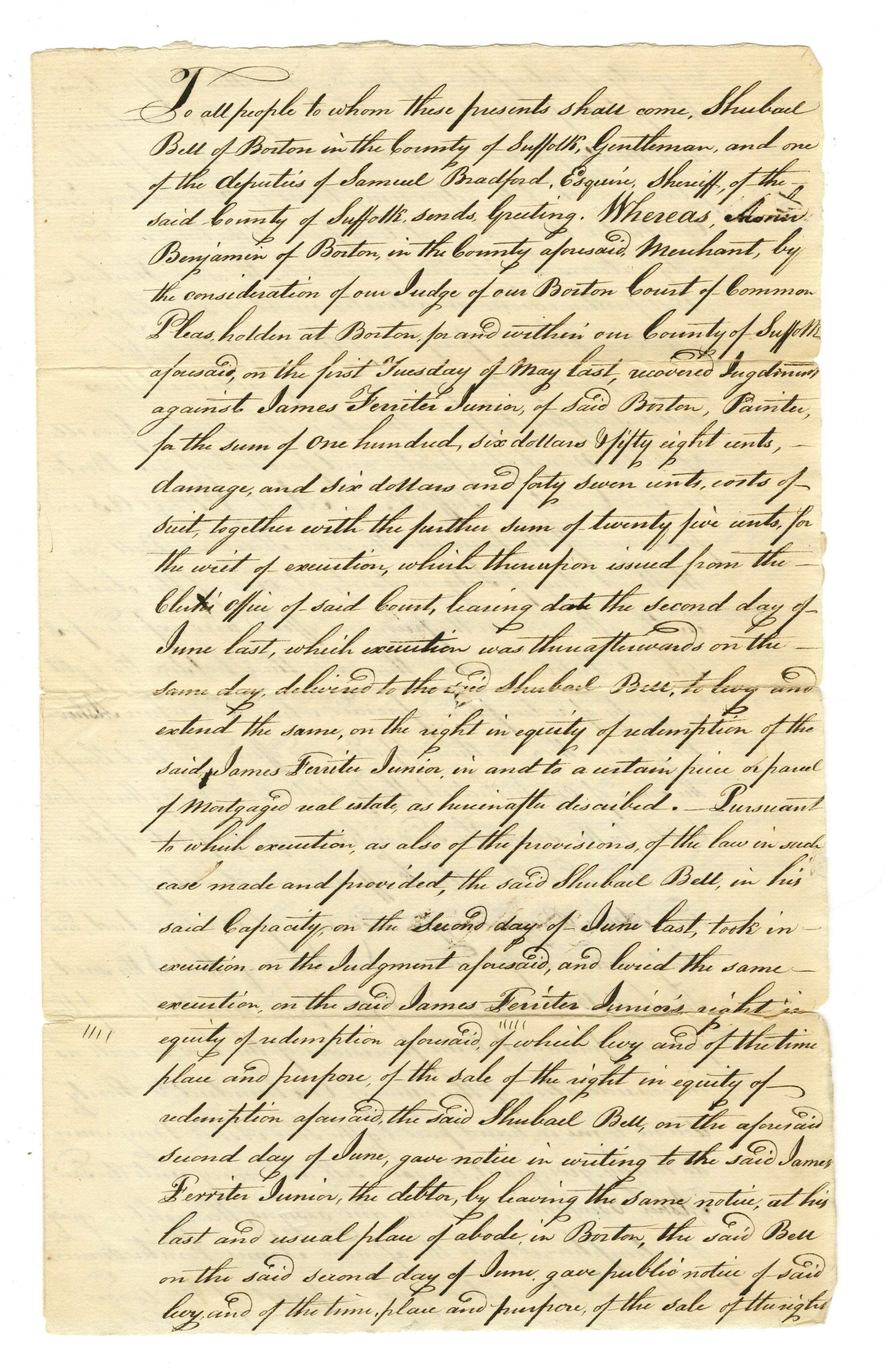 Early Boston Legal Document Involving Architect Asher Benjamin