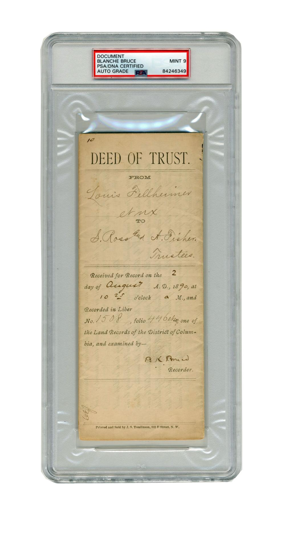 Blanche Bruce Signed Land Deed PSA Slabbed MINT 9 - First Elected African American Senator to Serve Full Term