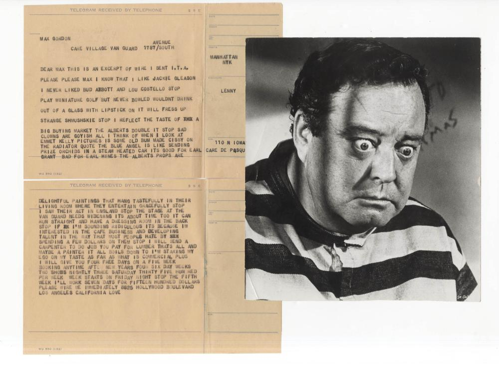 "Lenny Bruce Telegram Pitching His Act to Secure a Performance, Liking Gleason, Hating Lipstick ""shmushskie"""