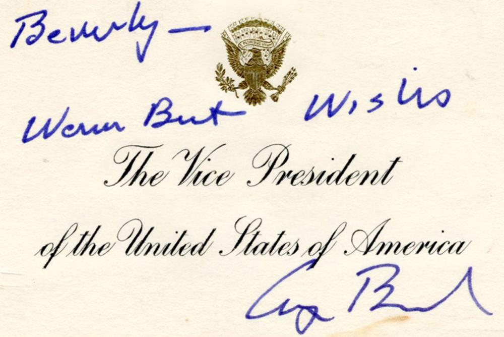 George H.W. Bush Signed White House VP Card