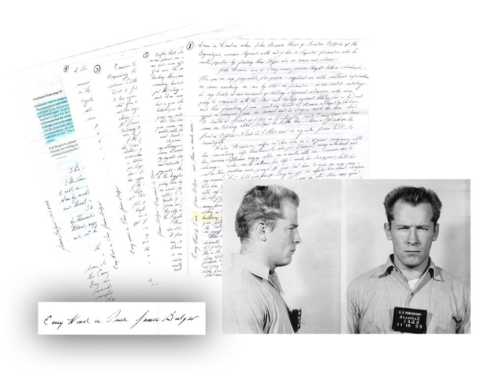 """The Very Best James """"Whitey"""" Bulger ALS """" I wanted to punish him - kill him..."""", Signed 8 Times Fantastic Confessions!"""