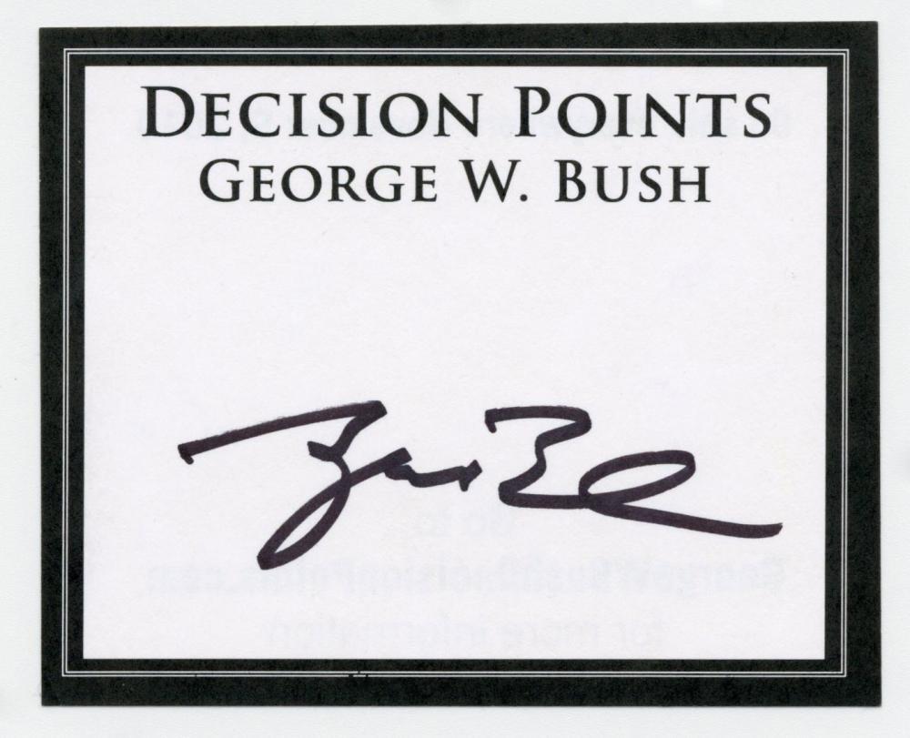"George W. Bush Signed ""Decision Points"" Promotional Sticker"