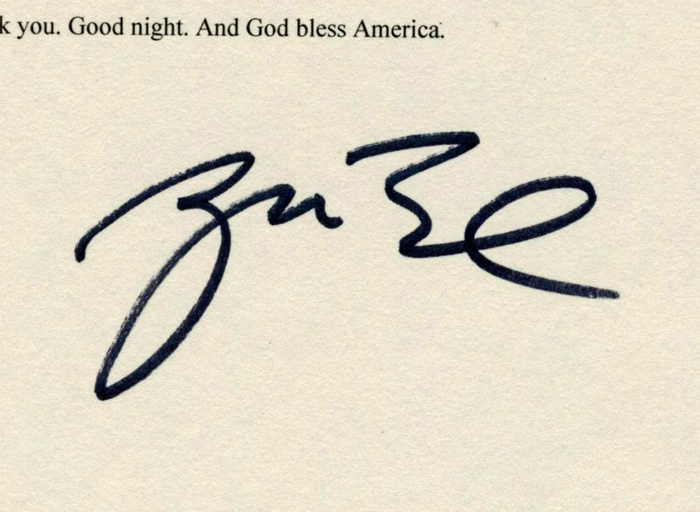 George Bush Addresses the Nation on 9/11, Signed Typescript on the Day of the Attacks