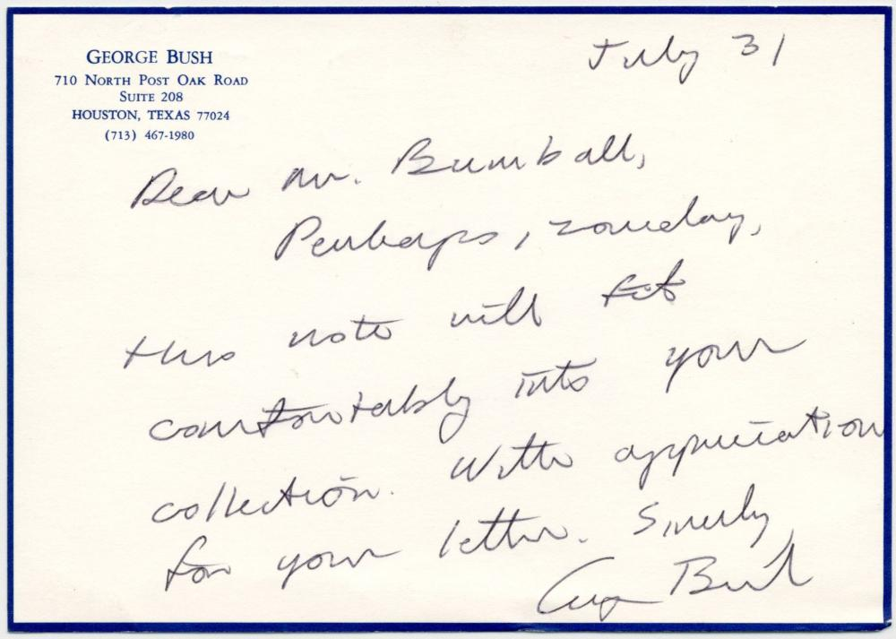 George H.W. Bush as President ALS on Houston Stationery Postmarked from Kennebunkport. Rare!