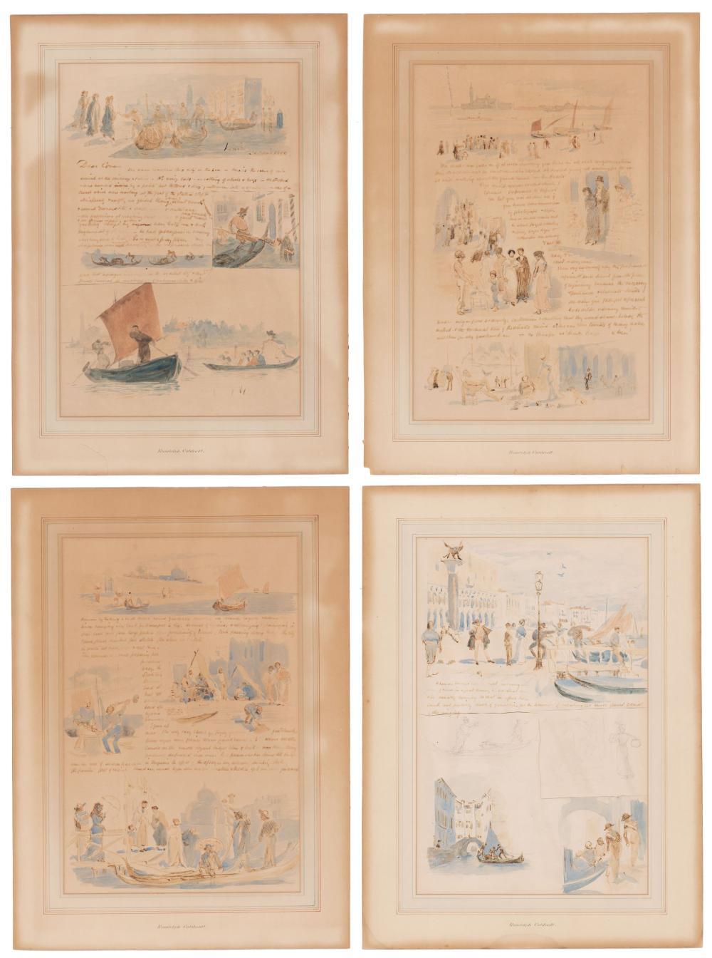Medal Namesake Randolph Caldecott Lovely Illustrated Letter Depicting Scenes from Venice