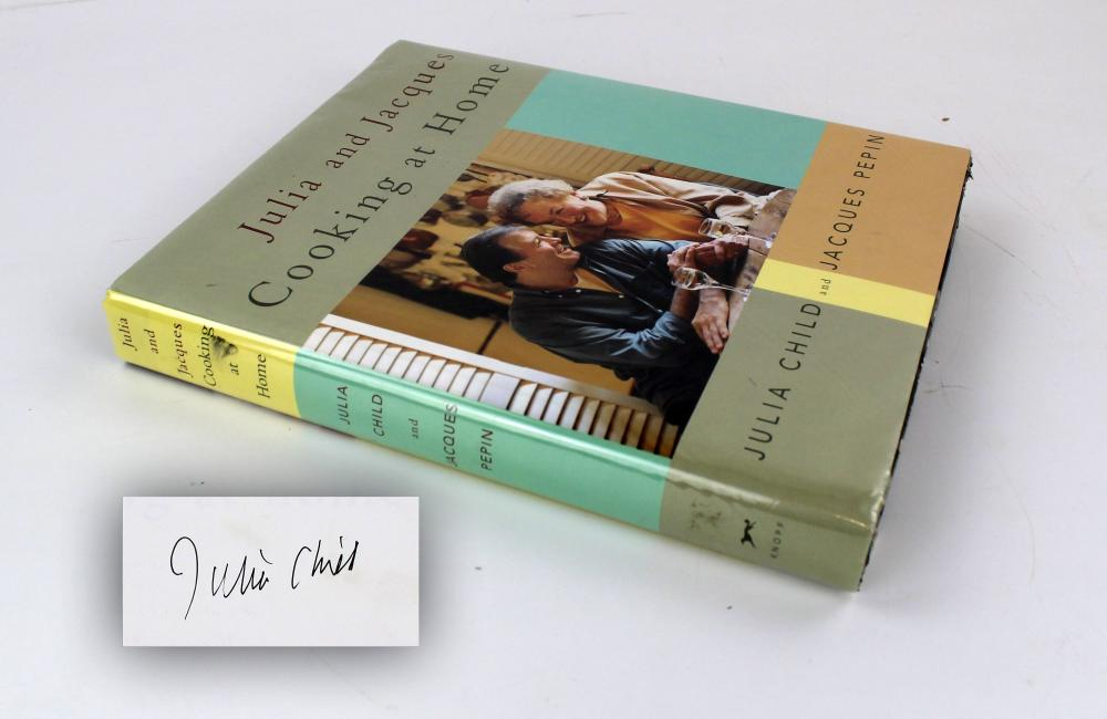 "Julia Child Signed Cookbook ""Julia and Jacques: Cooking at Home"""