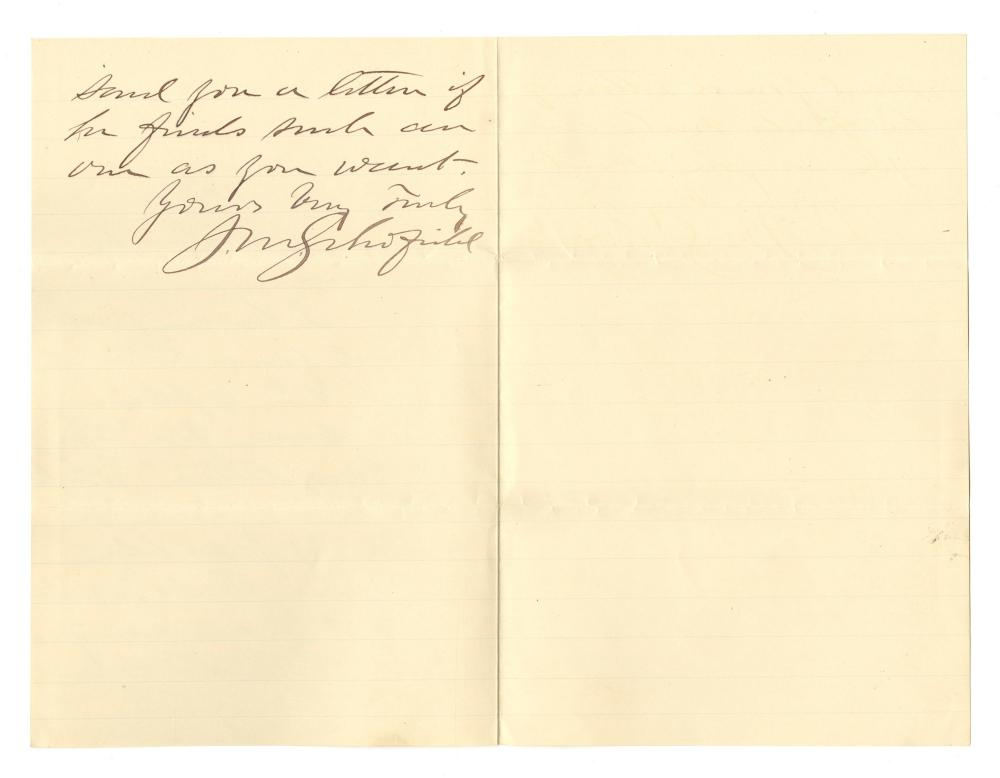 """John M. Schofield ALS Concerning a Request for """"an old war letter..."""""""