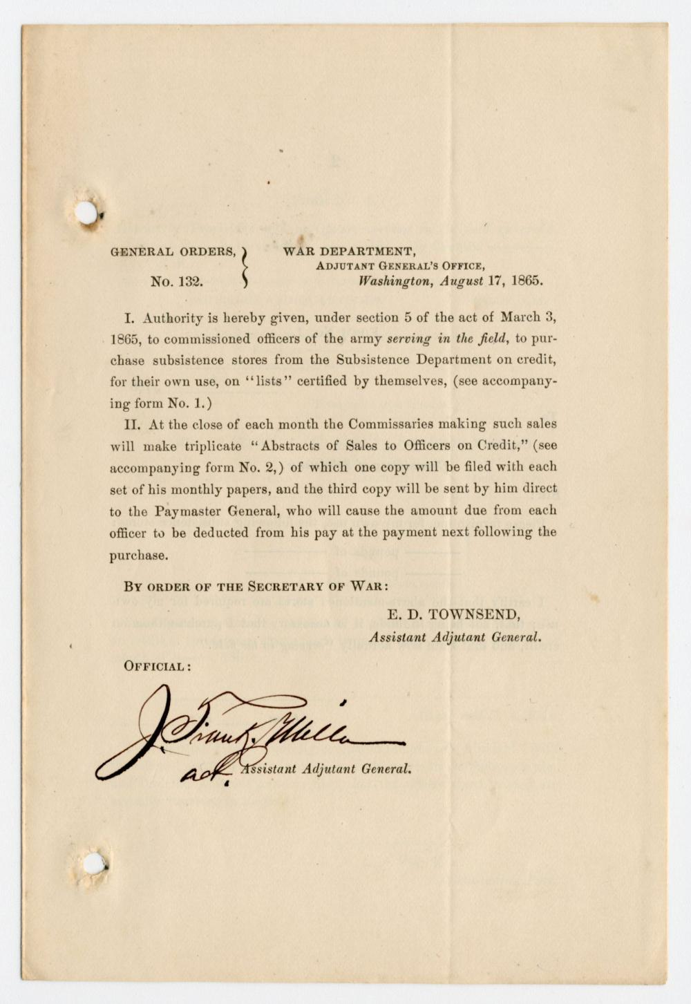 5 Civil War General Orders, Incl. 1 Issued 3 Days After Lincoln's Assassination