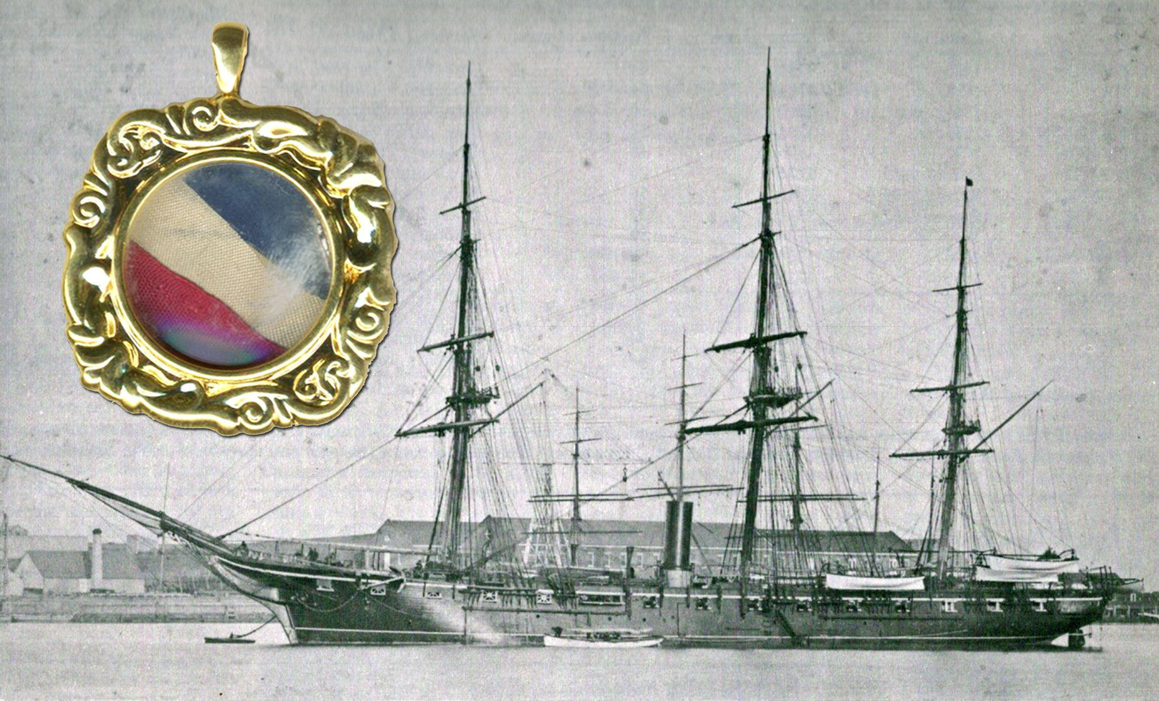 USS Hartford, Commanded by David G. Farragut, Flag Piece from 1861