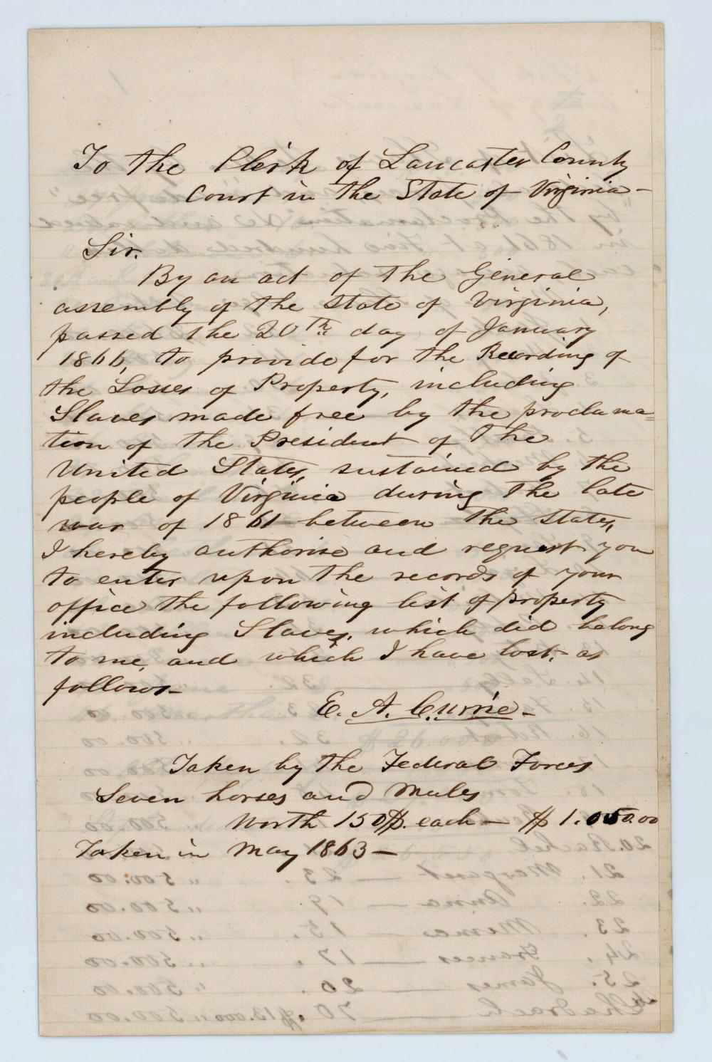 """Civil War Reparations Letter Loss of """"slaves made free by the Proclamation of the President [Lincoln] of the United States"""""""