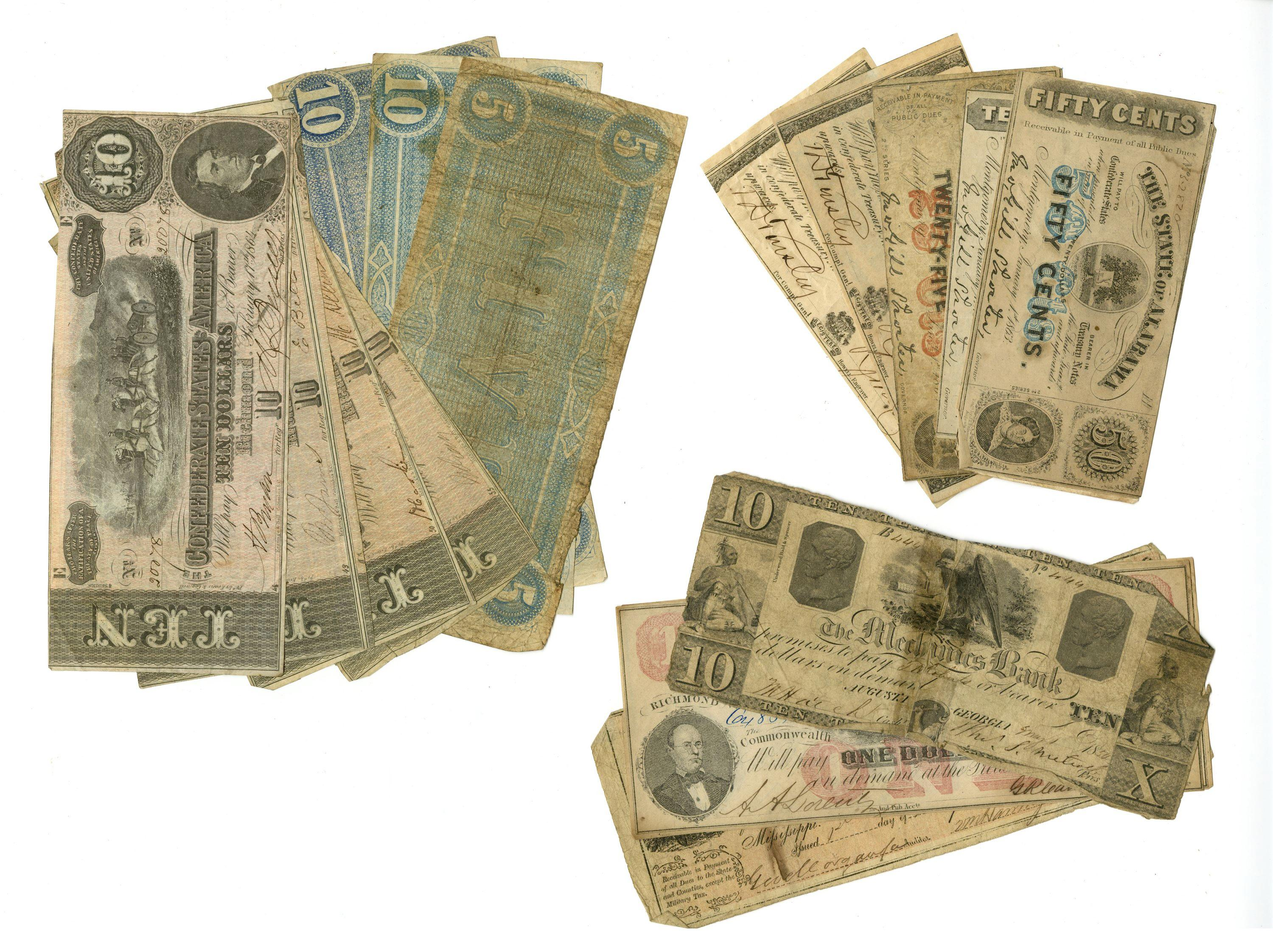 Confederate Currency, 17 Bills Great Variety, All But One War-Dated