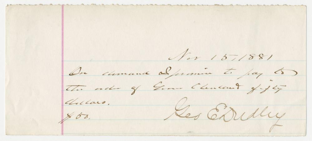 Grover Cleveland Autograph Promissory Note Signed in the 3rd Person