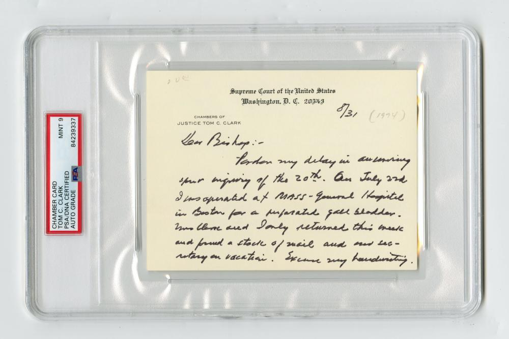 Justice Tom C. Clark Chamber Card ALS After Having Gall Bladder Surgery, PSA Slabbed and Graded MINT 9