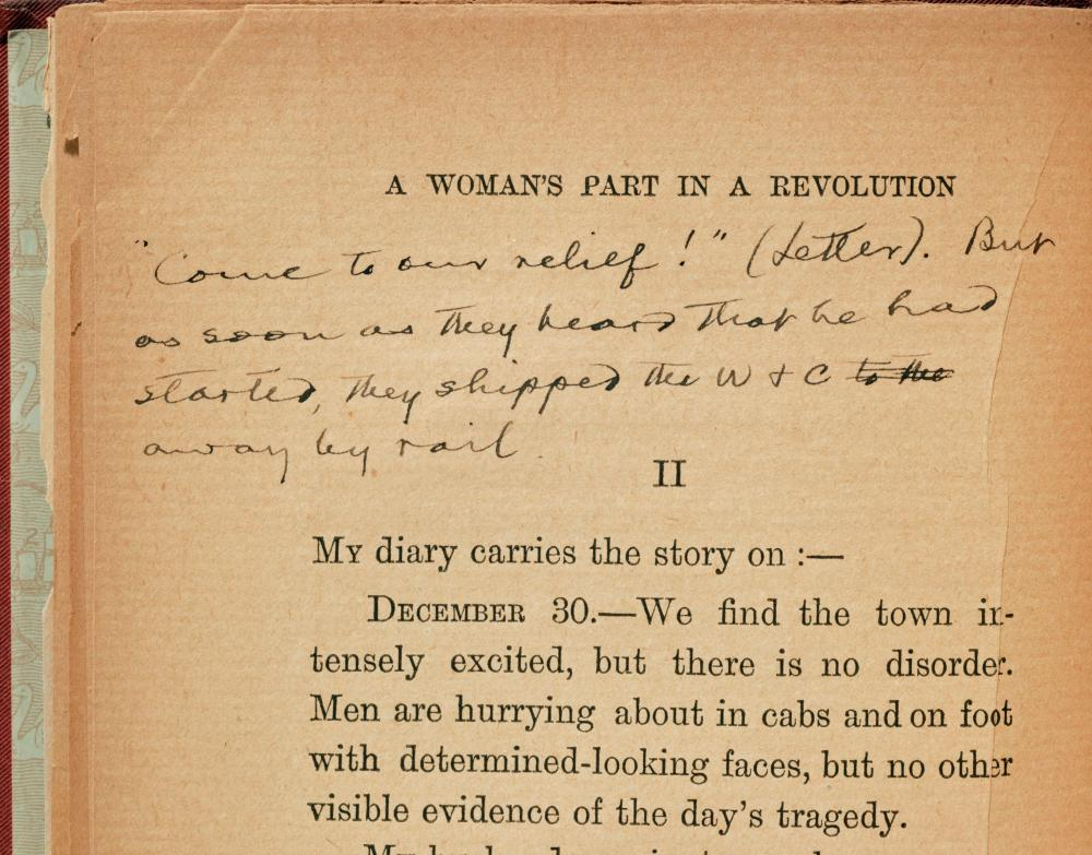 """Mark Twain Heavily Annotated """"A Woman's Part in the Revolution"""""""