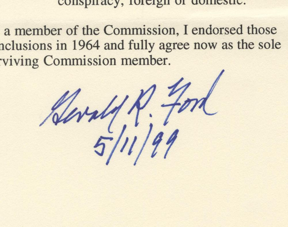 "Gerald Ford Signed Affirmation of Conclusions of the Warren Report, ""as the sole surviving Commission member"""