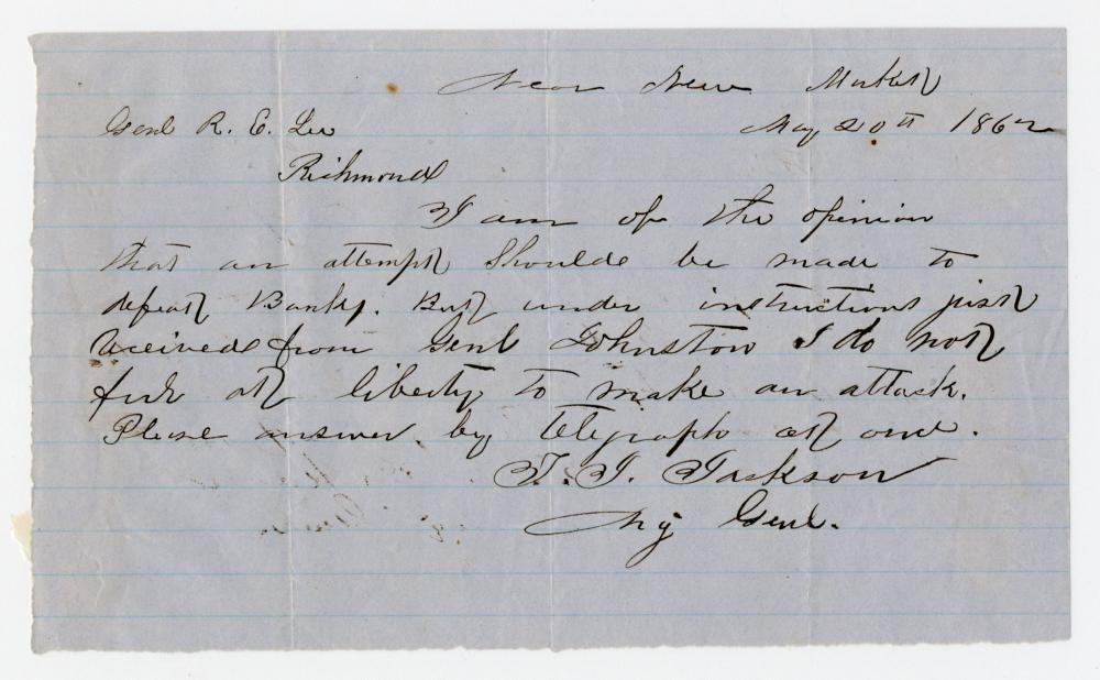 Stonewall Jackson Letter Requesting Lee's Intervention During the Shenandoah Valley Campaign. Fair Copy!