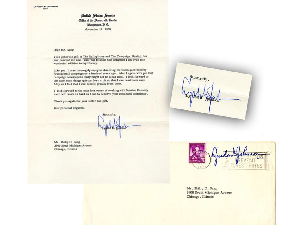 Lyndon B Johnson TLS, Thanking a Great Collector, Sang, for a Gift of Books