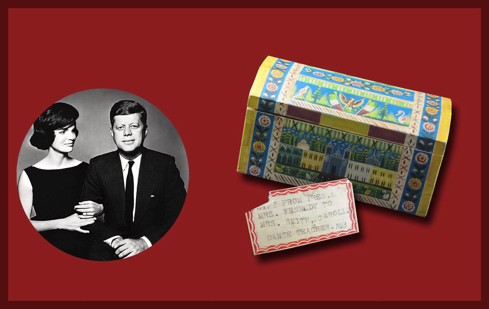 A Charming Hand-Painted Folk Art Style Wooden Chest, Presented By JFK and Jackie to Caroline's Dance Teacher in 1963. Excellent provenance.