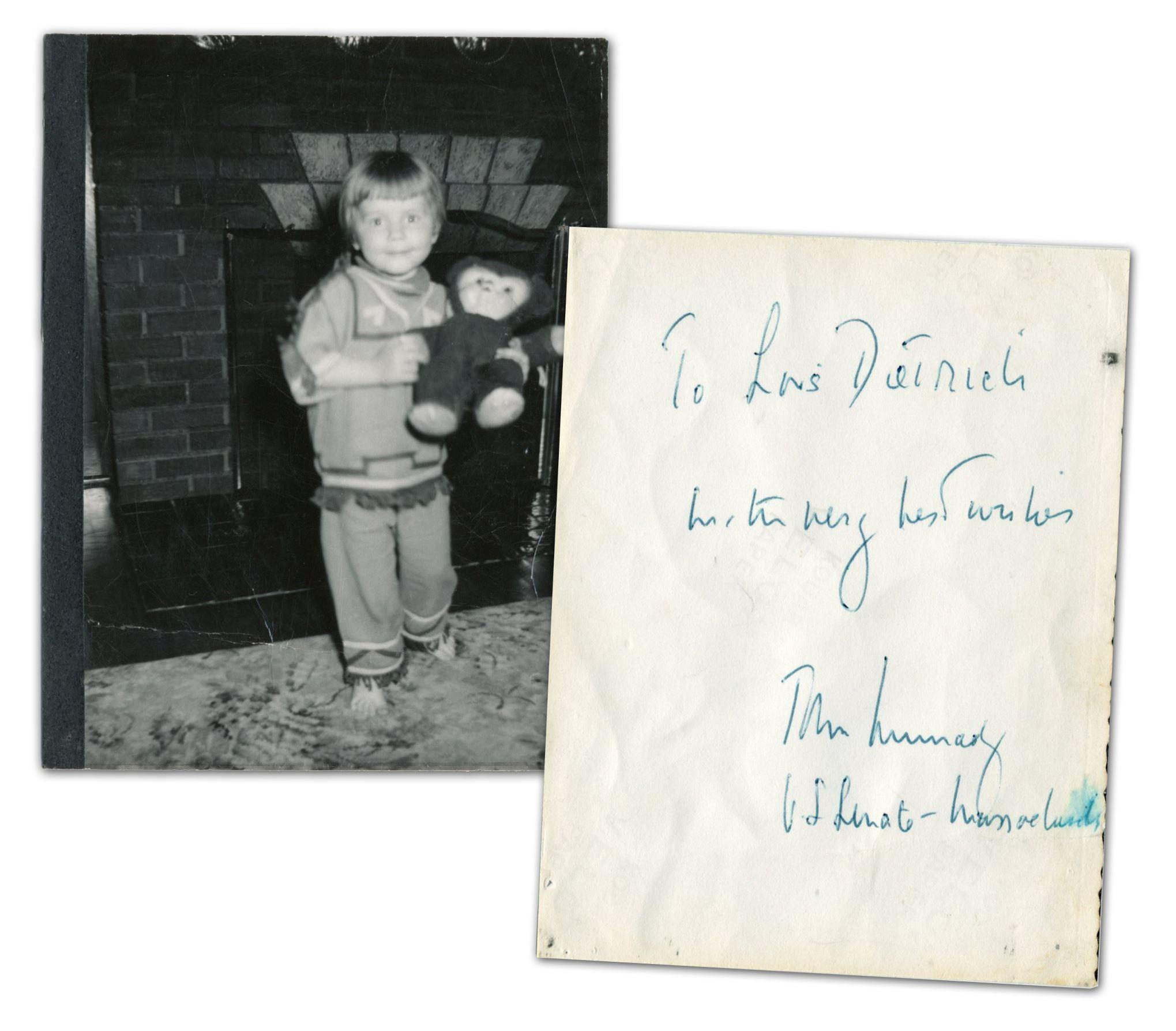 John F. Kennedy as MA Senator Signed Photo Dedicated to a Young Constituent