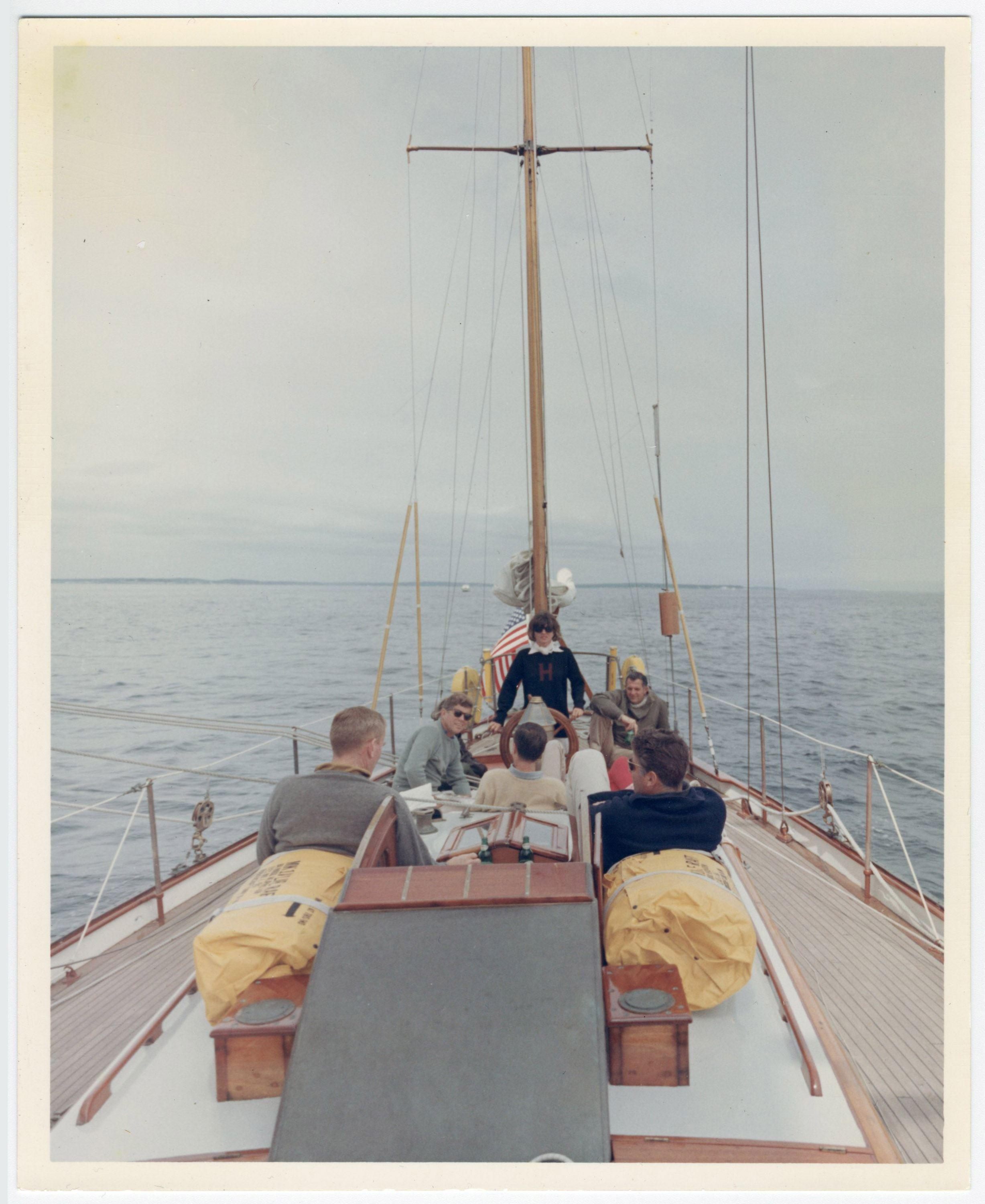 "JFK Yachtsman Aboard ""Manitou,"" Superb Vintage 8"" x 10"" Photo"