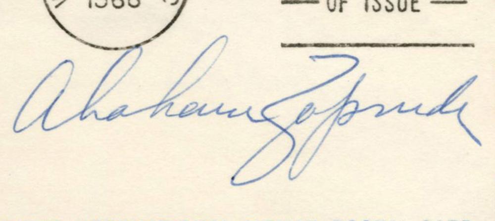 Abraham Zapruder, Filmed JFK Assassination, Signed Postal Card