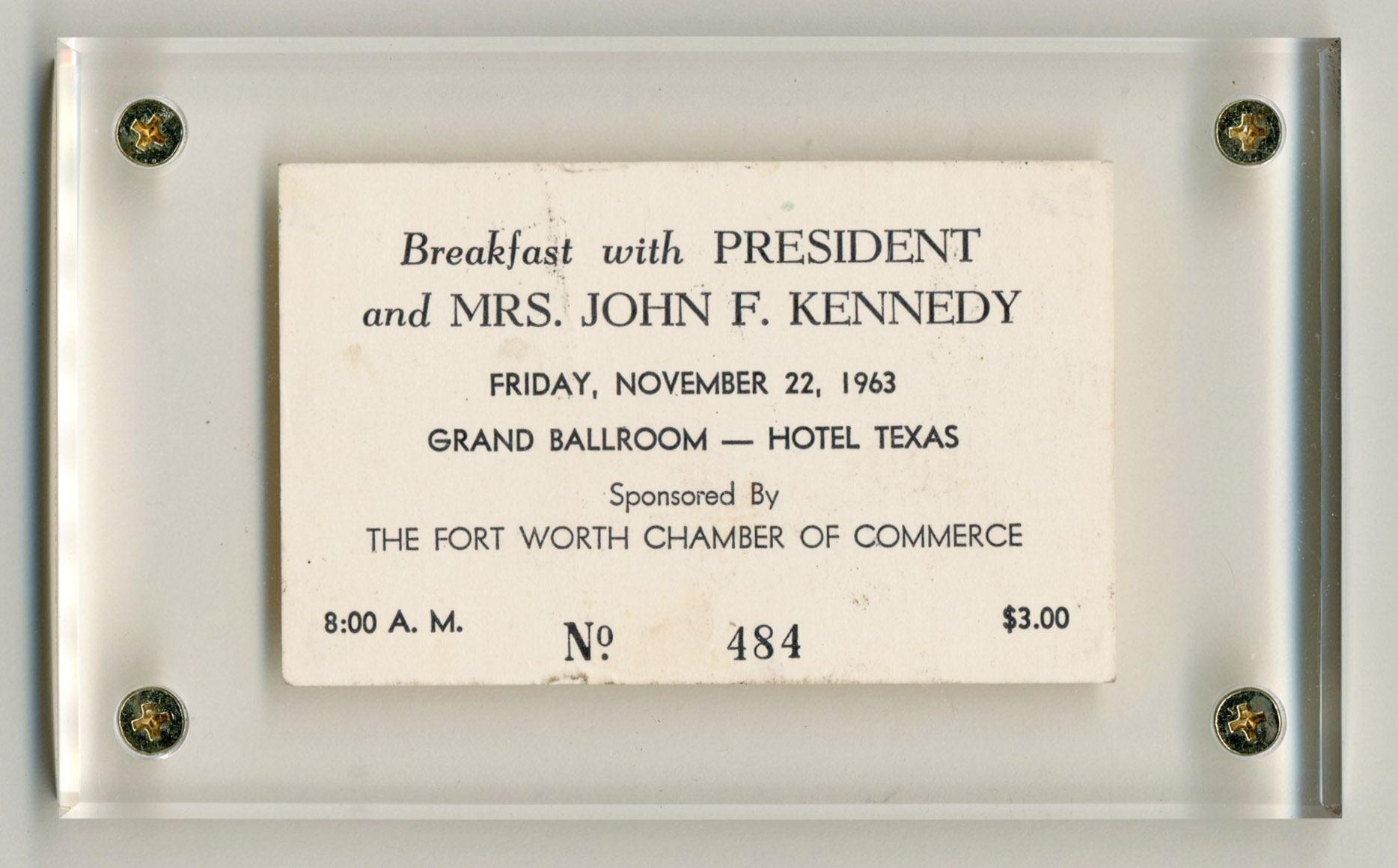 JFK Assassination Day Ticket to Fort Worth Chamber of Commerce Breakfast, Beautifully Presented