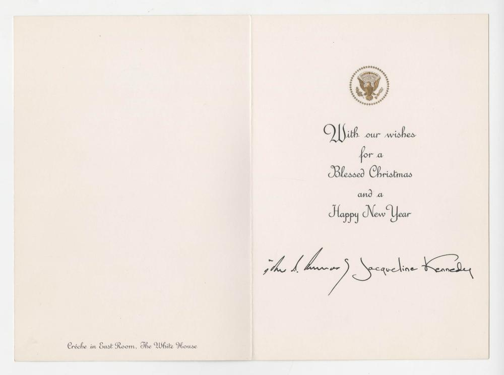 Kennedy White House Christmas Card, Prepared Before Assassination and Never Sent