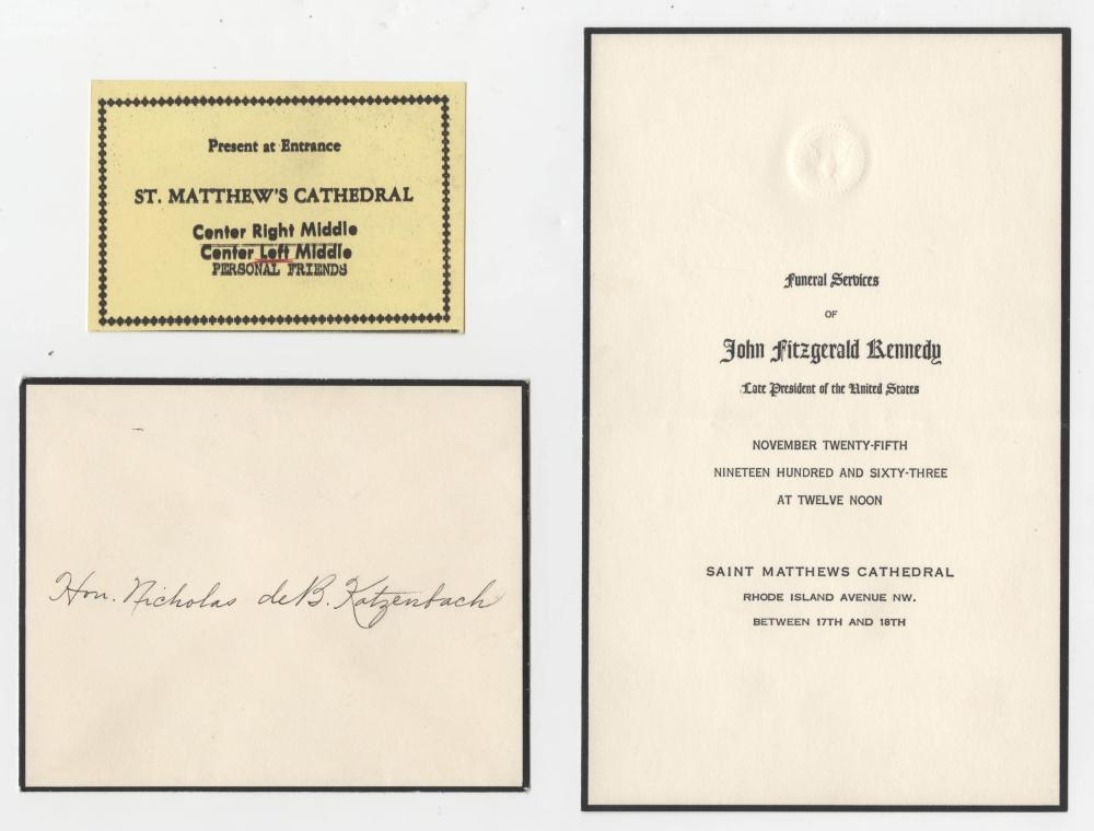 President Kennedy Funeral Announcement & Admin, Ticket