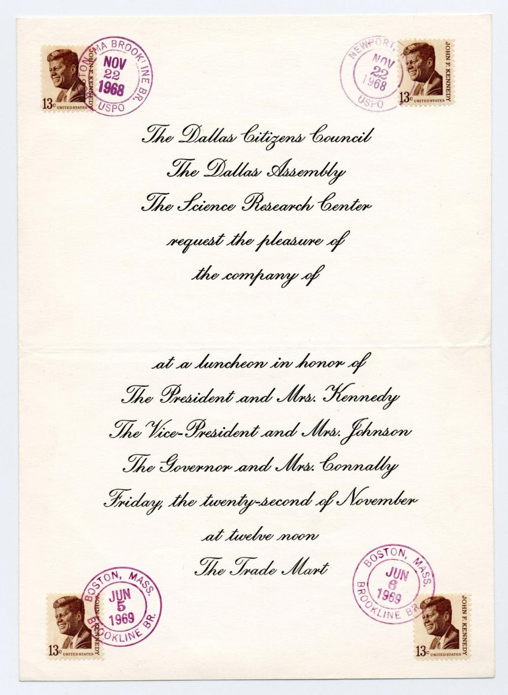 JFK Assassination Dallas Invitation to Trade Mart, Signed by 17 VIPs from Kennedy's Personal Life & Administration