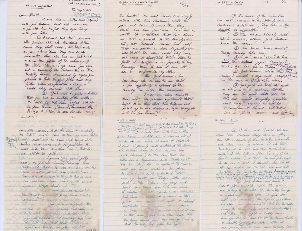 ALS to John Kennedy Re: Teddy and Commie-Pinko Ties, McCarthy Era, Blackmail and Joe Kennedy