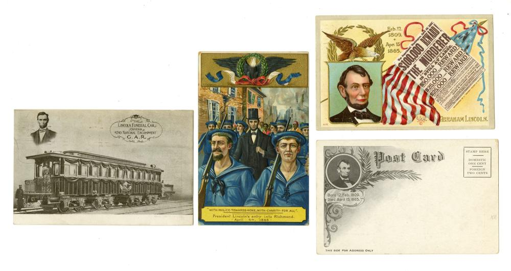 """Abraham Lincoln Assassination Printing """"ABRAHAM LINCOLN IS DEAD!"""" With Four Related Postcards"""