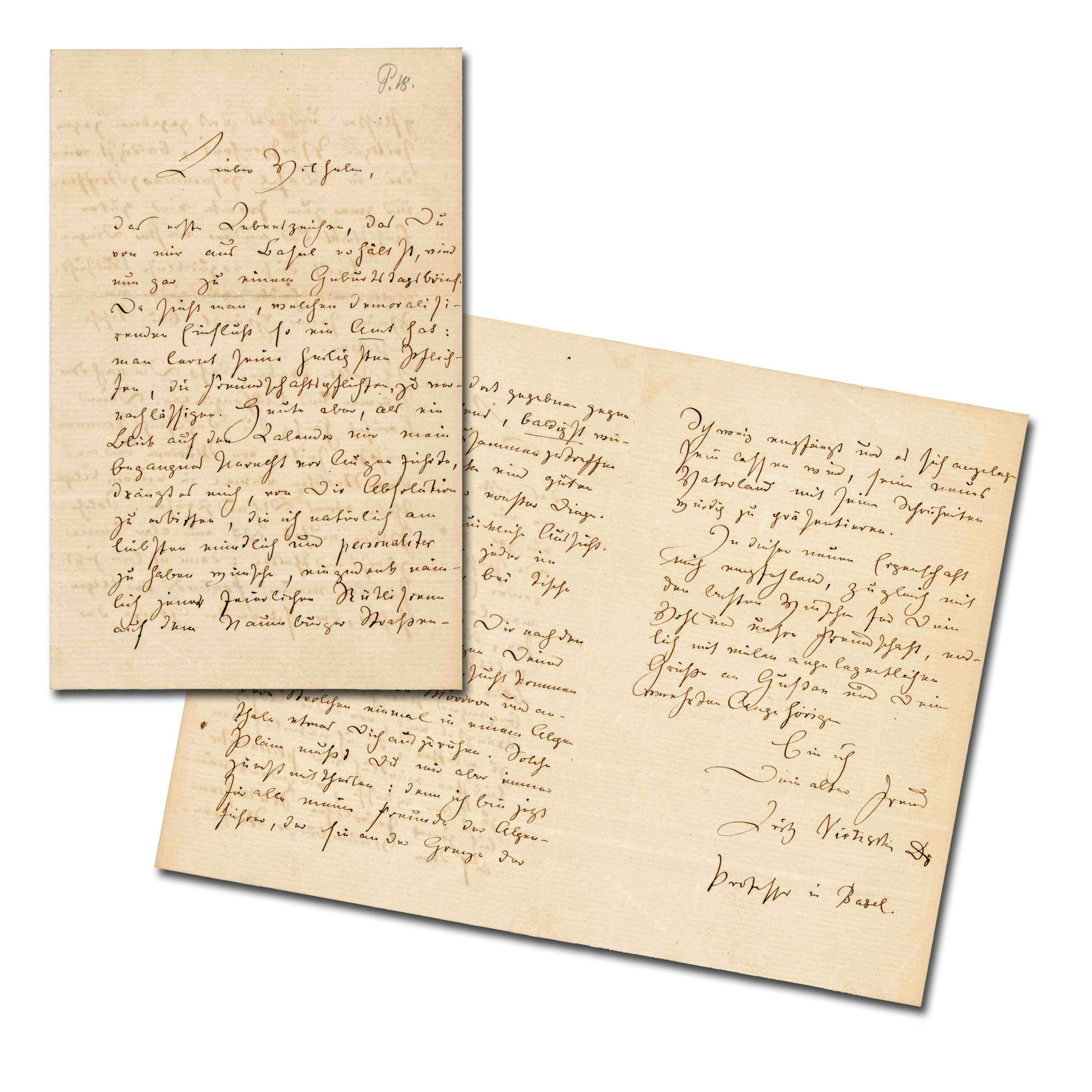"""Nietzsche Rare ALS to Childhood Friend, """"have a rest in an alpine valley away from murderers and other rascals"""", Superb"""