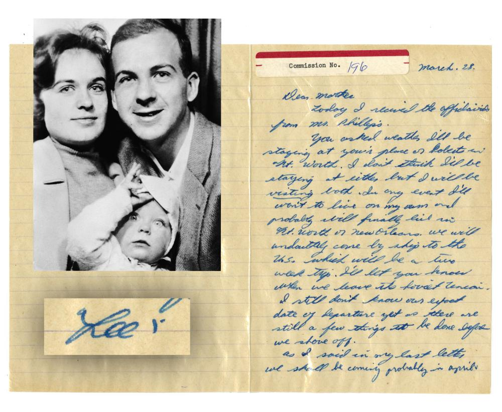 """Lee Harvey Oswald ALS to His Mother """"I'll let you know when we leave the Soviet Union..."""", Warren Commission Evidence"""